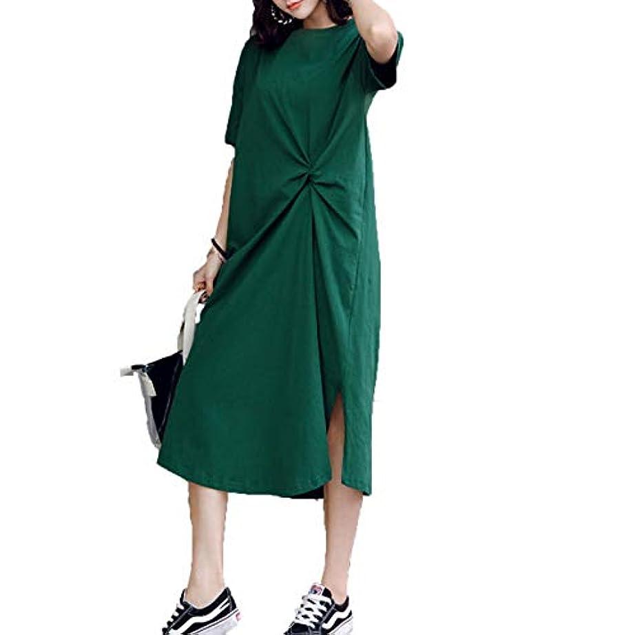 [ココチエ] ワンピース 半袖 ロング 大きいサイズ おおきいサイズ おしゃれ ゆったり 体型カバー