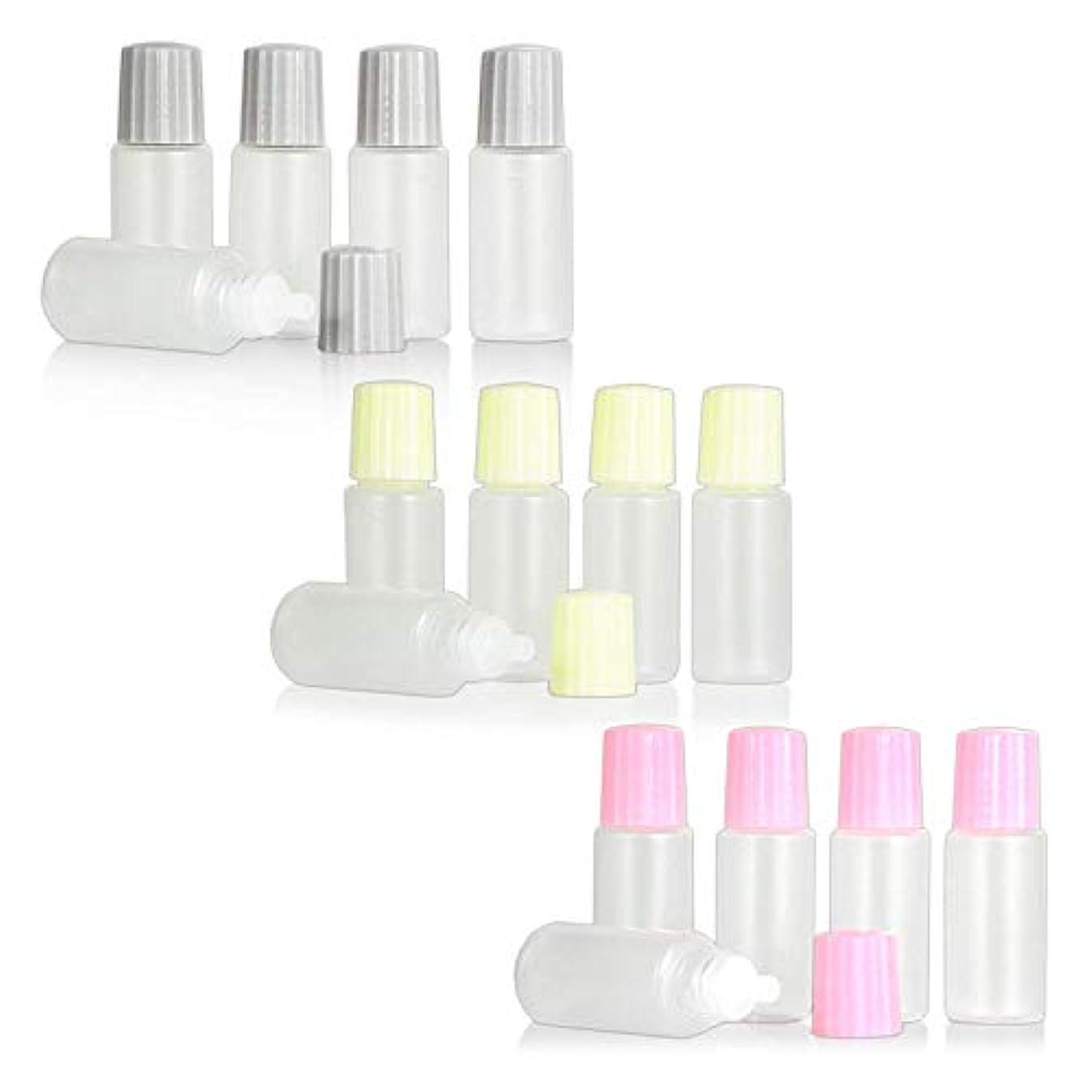 スポイトタイプ点眼容器 10ml 3色キャップ?各5本セット ピンク?クリーム色?グレー
