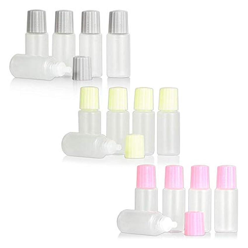 パトロン征服トラフィックスポイトタイプ点眼容器 3色キャップ 各5本セット ピンク クリーム色 グレー 10ml