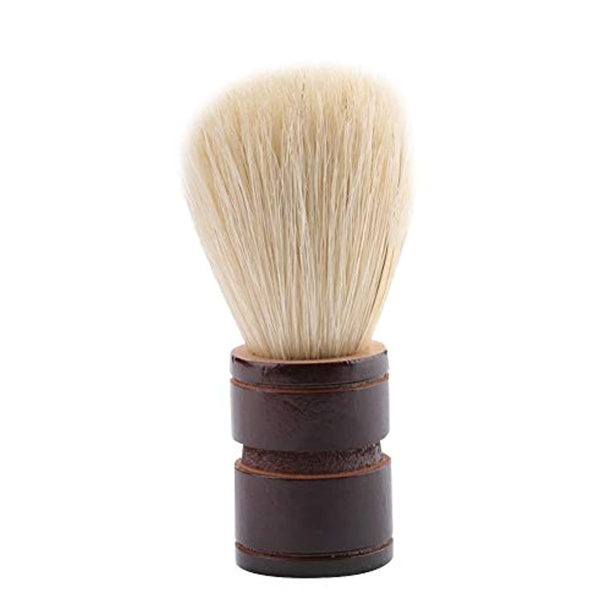 スキム発送ジムBrocan サロンホーム旅行の使用のためのポータブル男性のひげブラシ木製ハンドルシェービングブラシ(ウッド+絵筆)