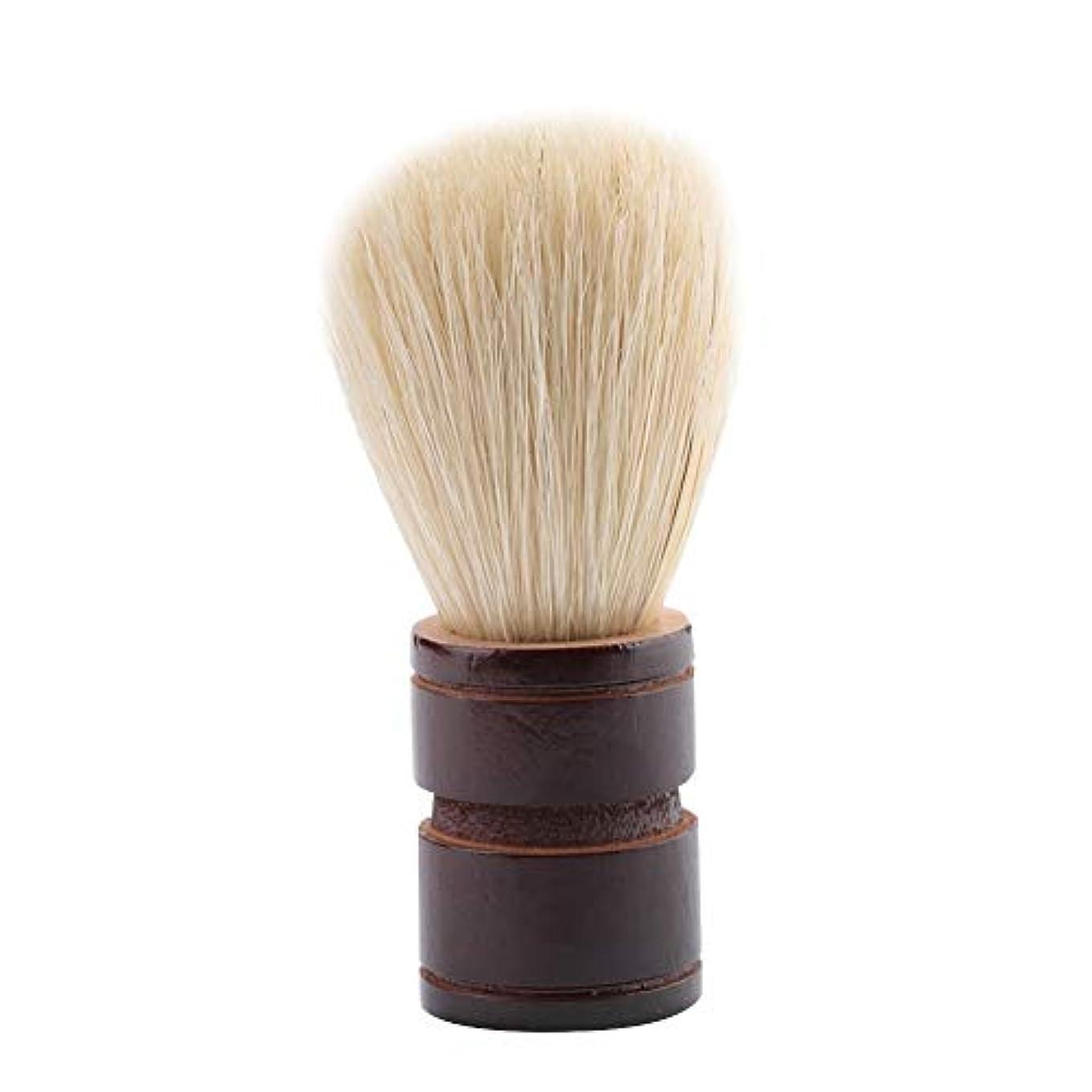 お酢拒否学んだBrocan サロンホーム旅行の使用のためのポータブル男性のひげブラシ木製ハンドルシェービングブラシ(ウッド+絵筆)