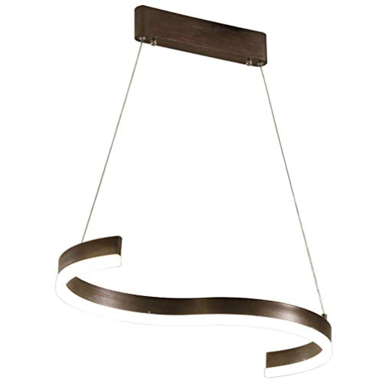 方言最小化する仮定LEDペンダントランプダイニングテーブルランプペンダントランプモダンクリエイティブメタルアートS字型ランプペンダントランプダイニングランプインテリア装飾天井ランプ直接照明ブラウン80 * 25cm 24wウォ