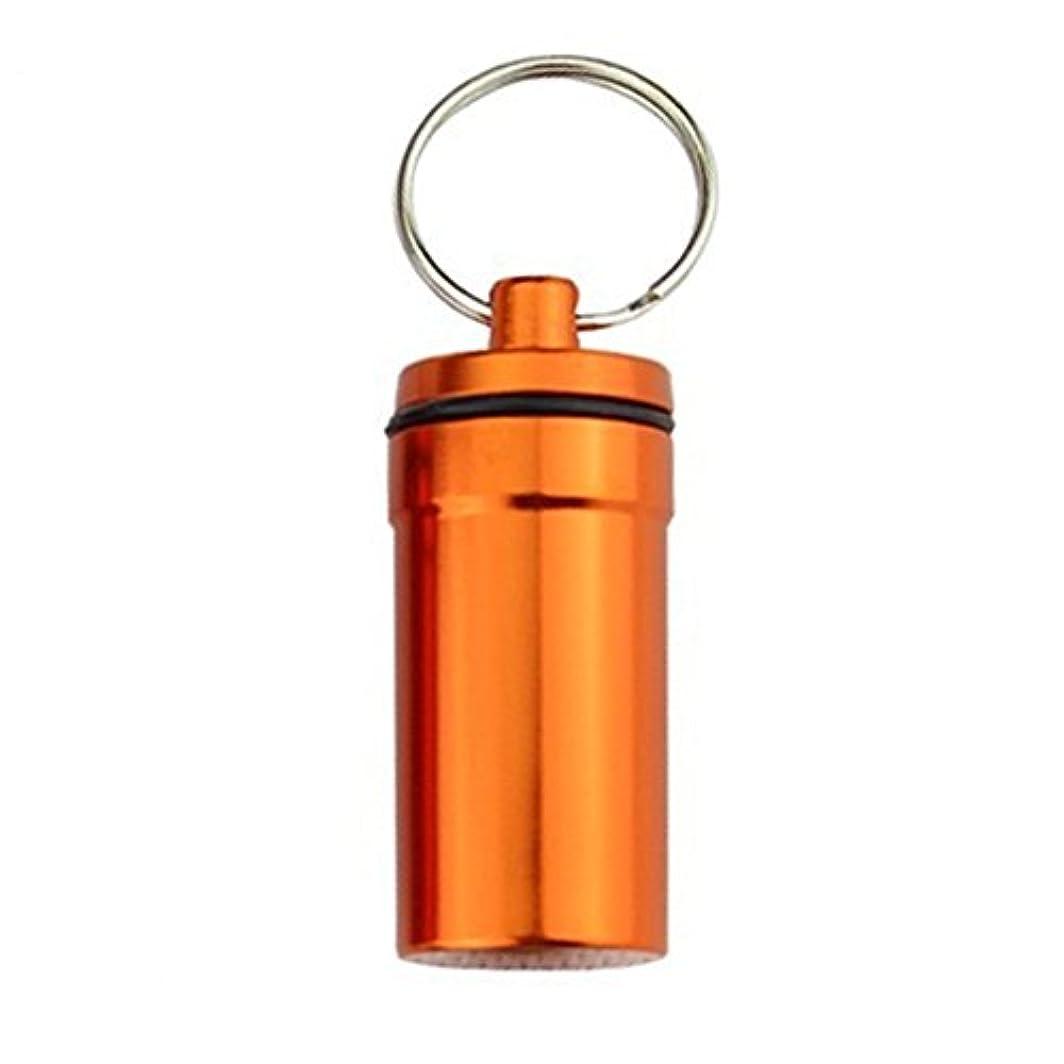 ポゴスティックジャンプ髄所得ZhaoZheピルケース 薬ケース カプセル サプリ 収納 携帯ピルケース アルミ合金防水 アウトドア (オレンジ)
