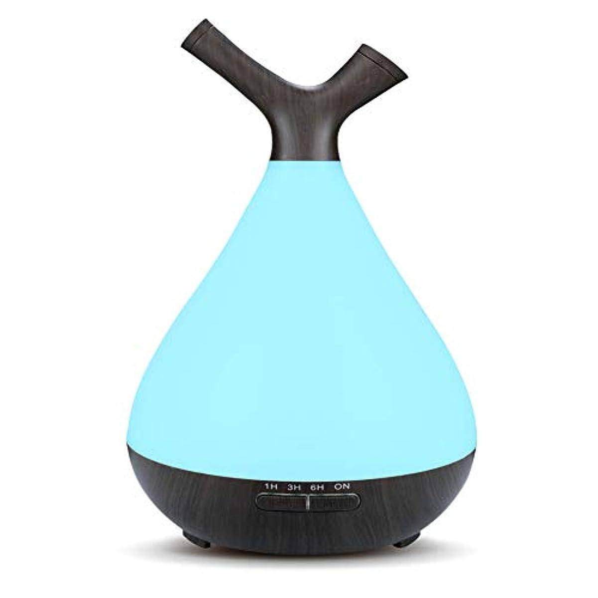 スプーン虫を数える素敵な木目 2 ノズル 7 色 加湿器,涼しい霧 時間 加湿機 調整可能 香り 精油 ディフューザー 空気を浄化 オフィス ベッド- 400ml