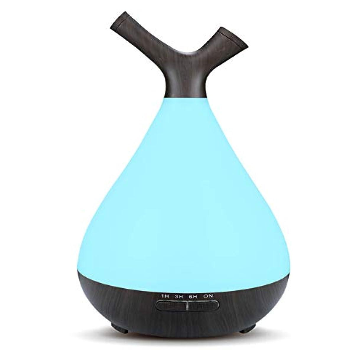 誇りに思う習慣メナジェリー木目 2 ノズル 7 色 加湿器,涼しい霧 時間 加湿機 調整可能 香り 精油 ディフューザー 空気を浄化 オフィス ベッド- 400ml