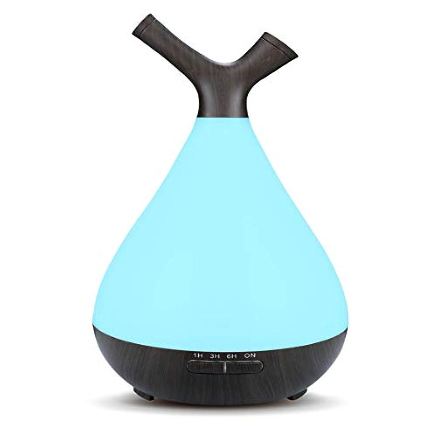 明日演劇長椅子木目 2 ノズル 7 色 加湿器,涼しい霧 時間 加湿機 調整可能 香り 精油 ディフューザー 空気を浄化 オフィス ベッド- 400ml