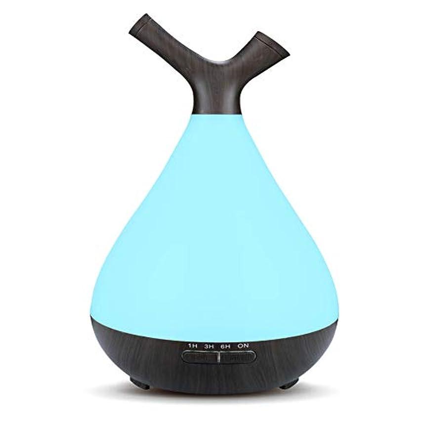 限り光電スクラッチ木目 2 ノズル 7 色 加湿器,涼しい霧 時間 加湿機 調整可能 香り 精油 ディフューザー 空気を浄化 オフィス ベッド- 400ml