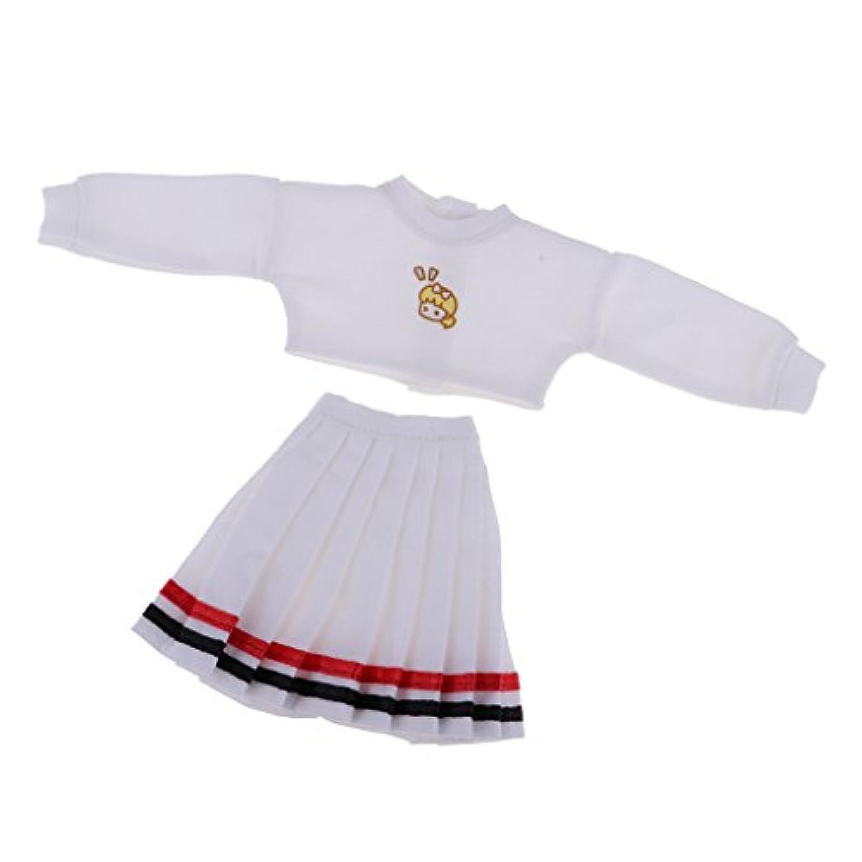 Fenteer ファッション ドール服 1/6スケール ブライス アゾン リカドール用 トップス プリーツスカート 高品質 2色選択 - ホワイト