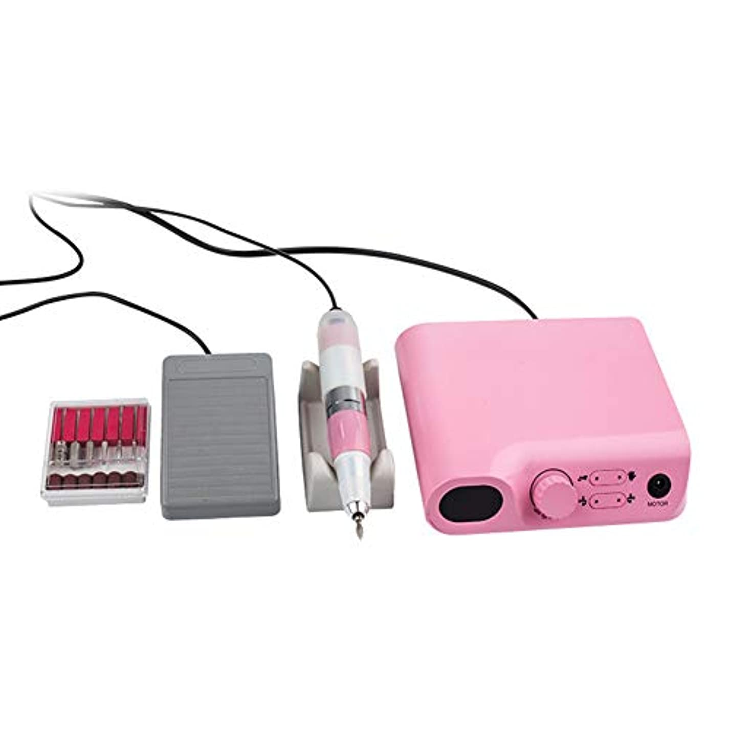 電動ネイルドリルマシン、LCDディスプレイ付きマニキュアペディキュアファイルツールキット30000 RPM研削研磨ネイルセット,ピンク