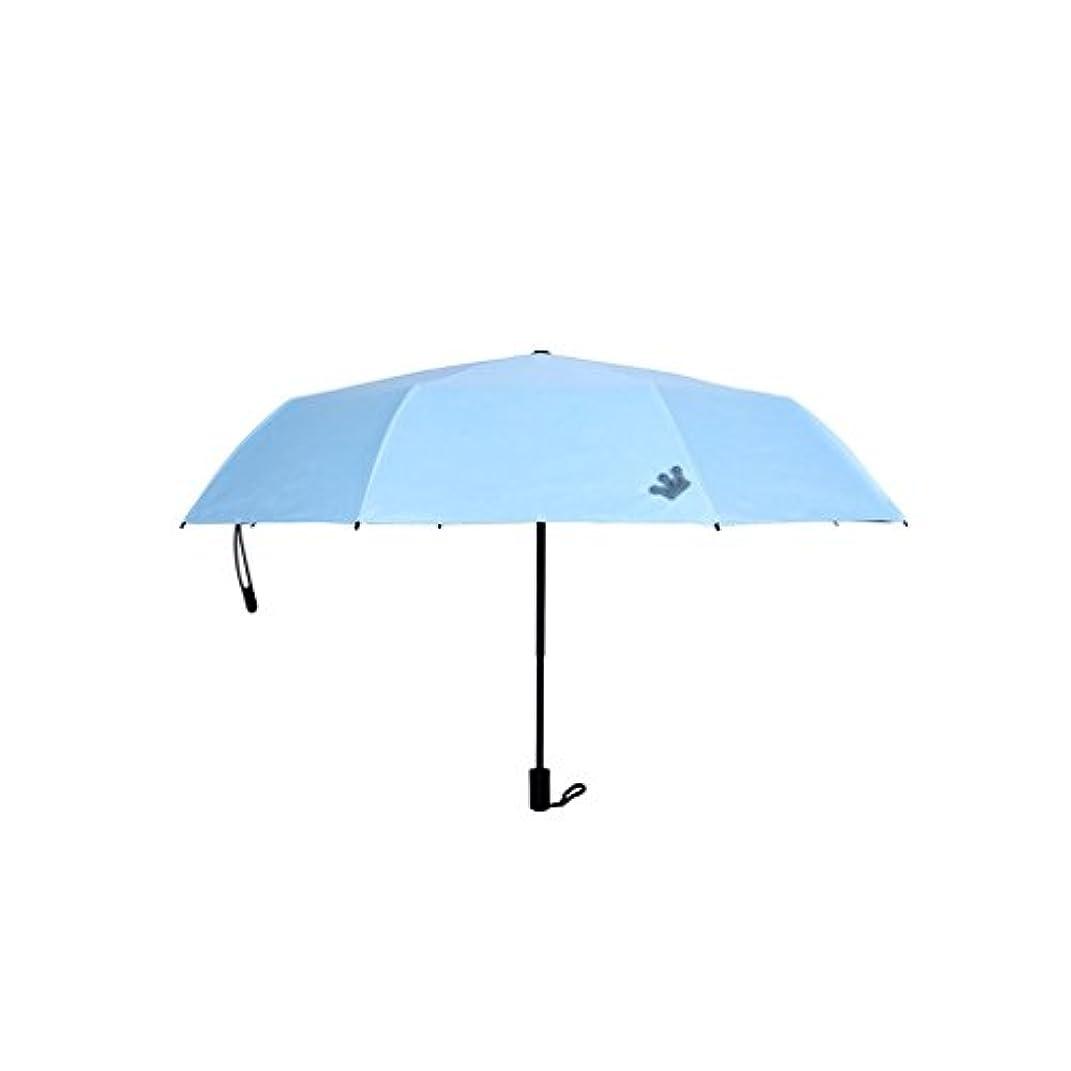 アナリスト色合い既婚旅行用傘 コンパクト旅行傘パラソルポータブル折りたたみ傘日陰抗紫外線高速乾燥防風旅行傘防風ダブルキャノピー建設テフロンコーティング UVカット (色 : 青)