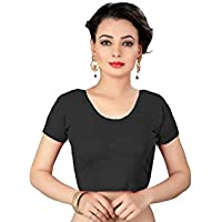 crazy bachat Indian Ethnic Design Stretchable Cotton Lycra Blouse BeigeTops Readymade Saree Blouses Short Sleeve Crop Top