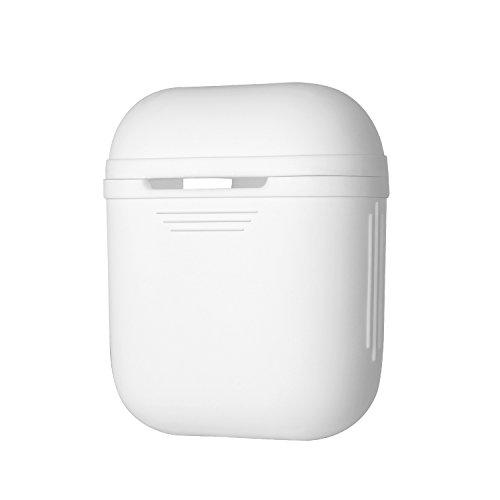 MUSON Apple AirPods保護ケース 収納ケース AppleワイヤレスイヤホンAirPod専用 防塵 耐衝撃 落下防止 持ち便利 シリコン製 保護カバー (ホワイト) A1