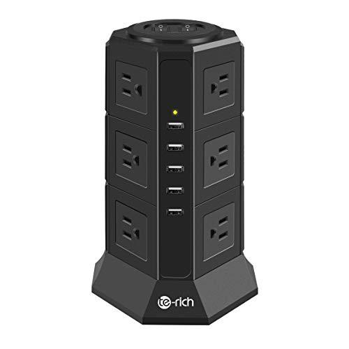 Te-Rich 電源タップ タワー式 12個AC口 コンセント 5USBポート 一括スイッチ トリプルタップ oaタップ たこ足配線 延長コード 2m 雷ガード マルチタップ プラグソケット テーブルタップ (3段, ブラック)