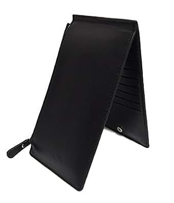 Homarina カードケース 二つ折り 薄型 長財布 レザー 大容量 メンズ レディース 小銭入れ (ブラック)