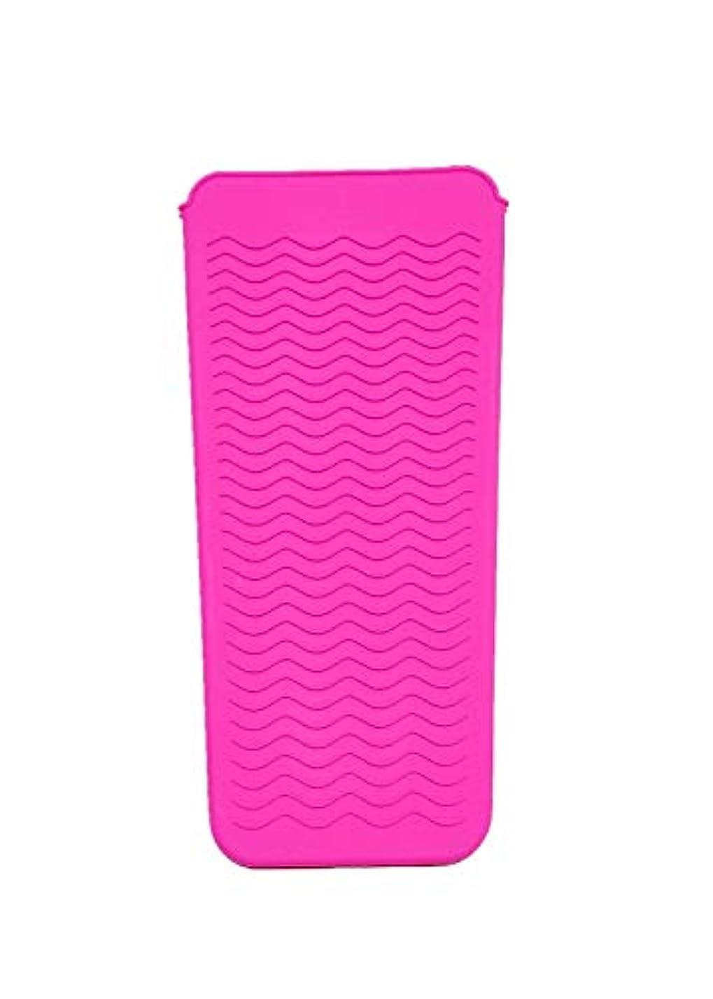 工夫するにんじん主流FChome耐熱シリコンマットポーチ、ストレートヘアアイロン、ヘアアイロン、フラットアイアンおよびトラベルマット、ホットスタイリングツール(ピンク)