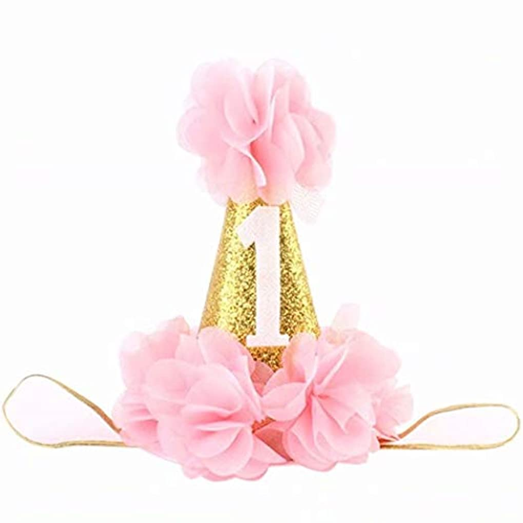 時間キー百七里の香 赤ちゃんのための第1回誕生日ヘッドバンド幼児のかわいいプリンセスフラワークラウンヘッドバンド第1回誕生日パーティー用品