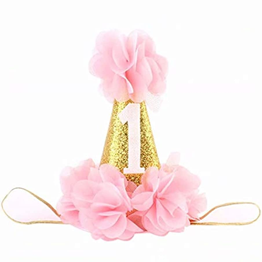 カジュアル卑しい頬七里の香 赤ちゃんのための第1回誕生日ヘッドバンド幼児のかわいいプリンセスフラワークラウンヘッドバンド第1回誕生日パーティー用品