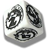 1 (One) Single d6 - Q-Workshop: Carved DRAGON d6 Dice / Die (White & Black)
