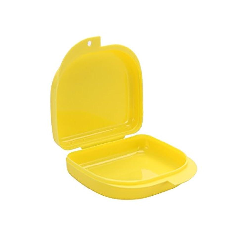 リボン隔離時制ROSENICE 義歯ケース口ガードケース義歯ボックス義歯収納容器(黄色)