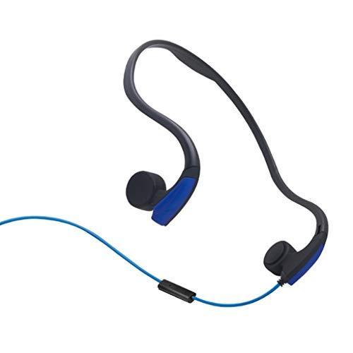 有線屋外スポーツヘッドフォン、骨伝導イヤホンリアマウントランニングライディングスーパーストロングタフネス360度回転、圧力なし (色 : 青, サイズ さいず : 2pcs)