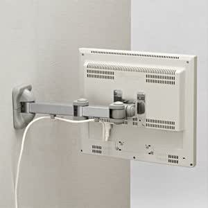 サンワダイレクト モニターアーム 壁面取り付けタイプ ディスプレイアーム ロングアームタイプ 100-LA014