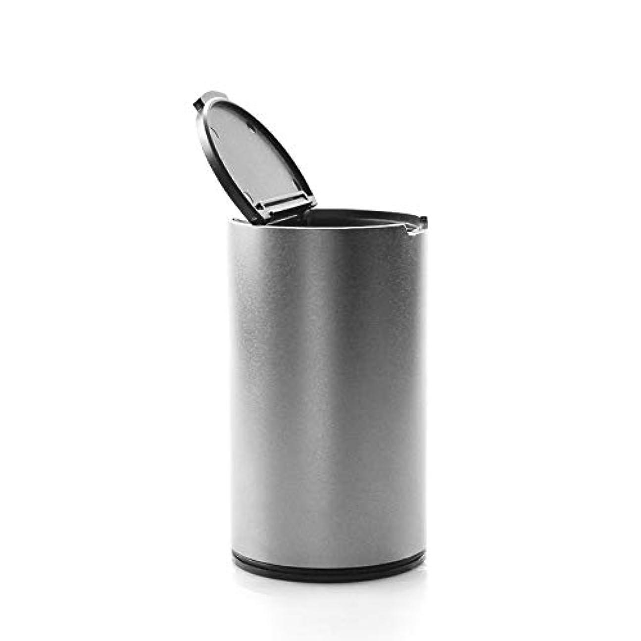 十分ではないエロチックニッケル車の喫煙灰皿の裏表紙の中にある蓋が密閉された車の灰皿付きのミニ車の灰皿 (色 : 銀)