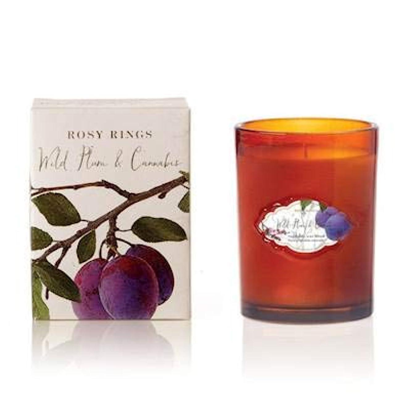 揃える活性化八百屋Rosy Rings Wild Plum and Cannabis 植物性 12オンス シグネチャーガラスジャーキャンドル