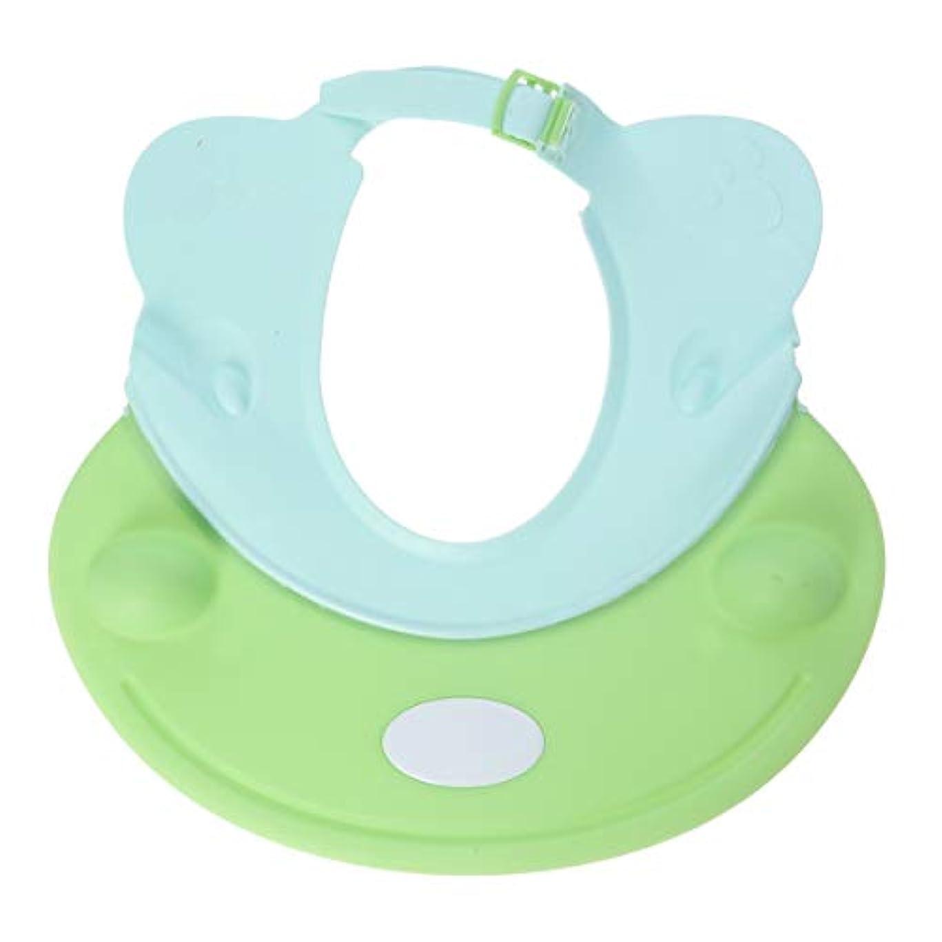 絶えず増加するチャンスSUPVOX ベビーシャワーキャップシャンプー入浴保護帽子カバ形ソフトアジャスタブルバイザーキャップ用幼児子供用ベビーキッズ(グリーン)