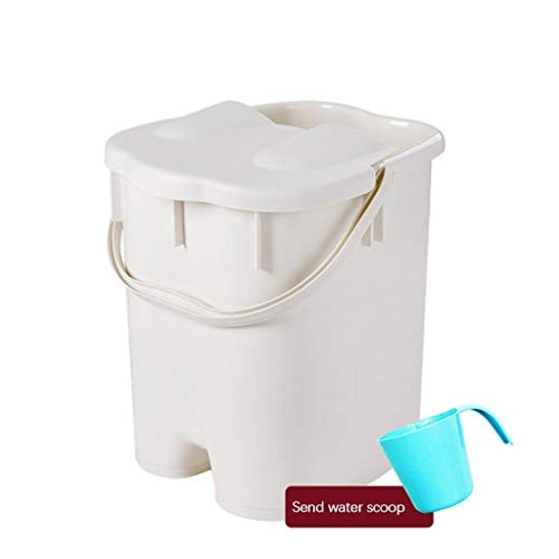 乱暴な快い腹フットバスバレル- ?AMTポータブルマッサージ浴槽プラスチック足湯バケツ付き蓋保温足風呂盆地大人スパボウル世帯 Relax foot (色 : 白, サイズ さいず : 27*30.5*38.5cm)