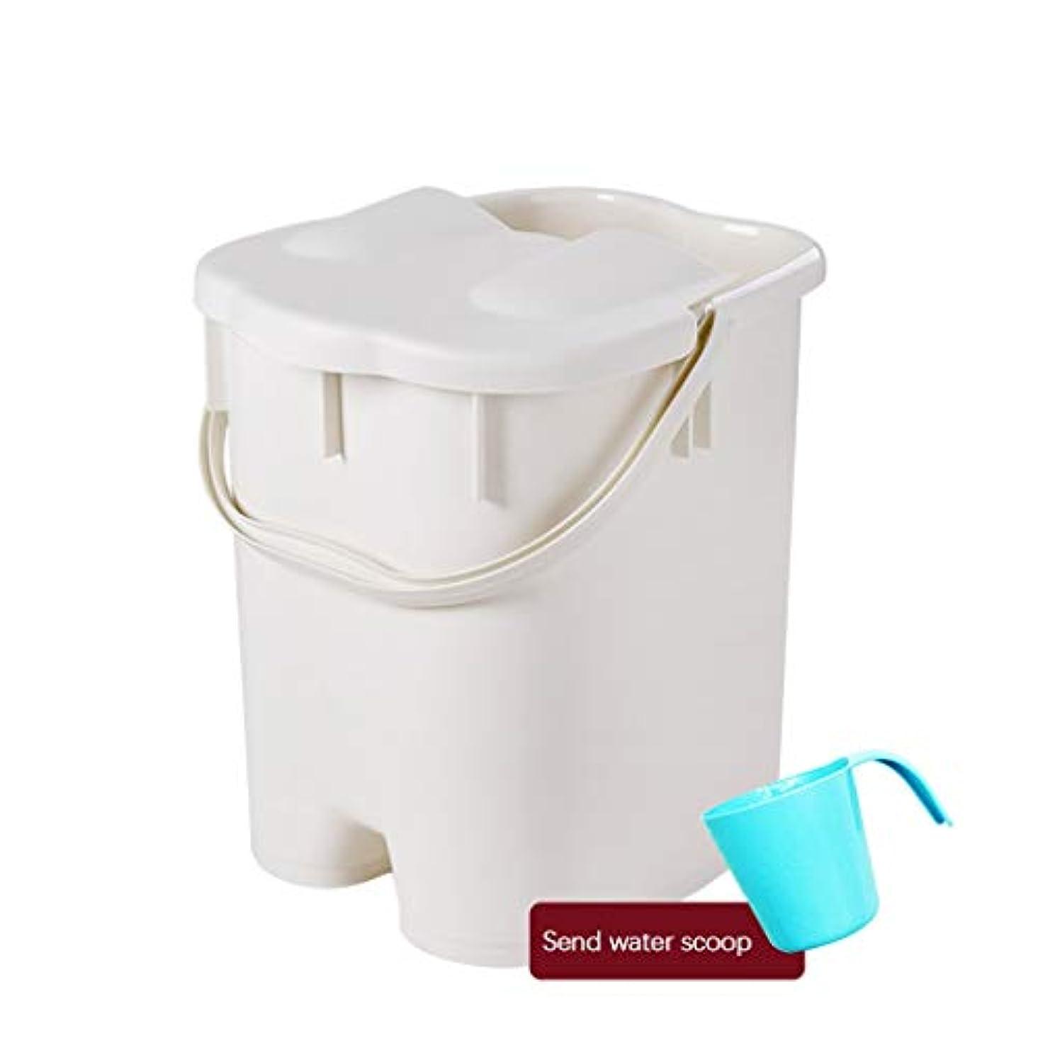 補助レタッチ可塑性フットバスバレル- ?AMTポータブルマッサージ浴槽プラスチック足湯バケツ付き蓋保温足風呂盆地大人スパボウル世帯 Relax foot (色 : 白, サイズ さいず : 27*30.5*38.5cm)
