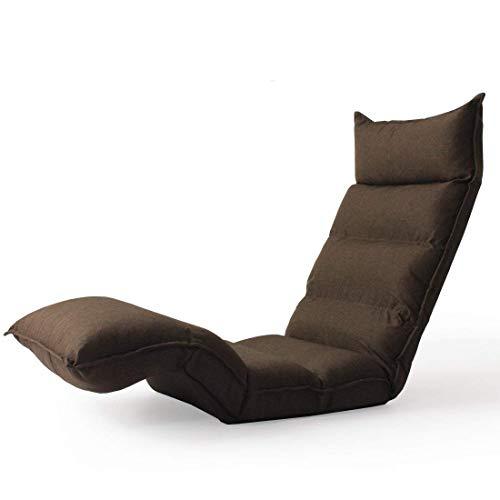 タンスのゲン へたりにくい ポケットコイル 座椅子 ハイバック ロング 低反発 42段階 リクライニング ブラウン 15210044 91 【63248】