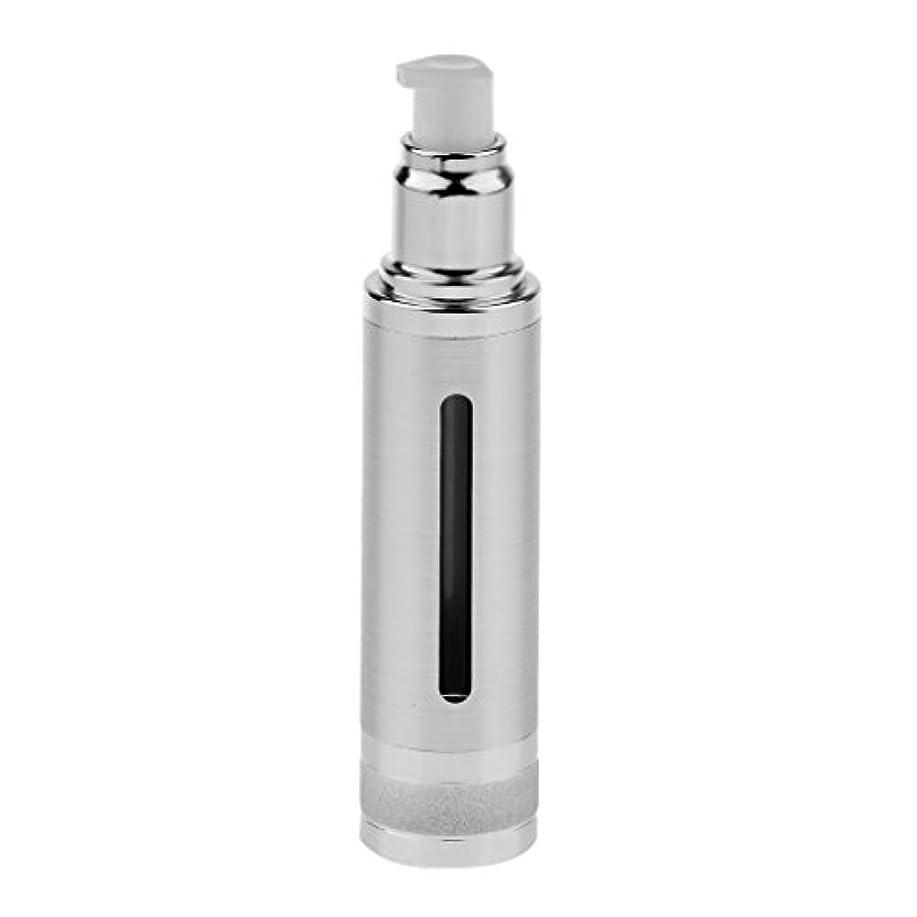 ピボット戦術箱1ピース50ミリリットル空ポータブル詰め替え式プラスチックエアレス真空ポンプボトルバイアルトラベルクリームローショントナーコンテナポット曇りキャップ(50ml / 1.7oz) - 銀