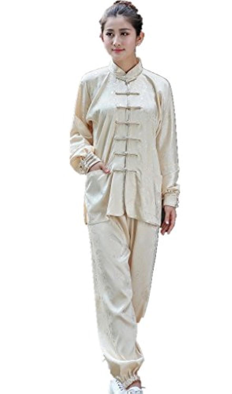 (上海物語) Shanghai Story ユニセックス ゆったり 太極拳服 上下セット シルクの触感 演舞 武術 カンフー服 中国拳法服スーツ