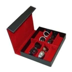 Green Standard メガネ サングラス コレクション ケース 8本収納 腕時計 宝石の保管にも アイウエア収納ケース (ブラック×ブラック)