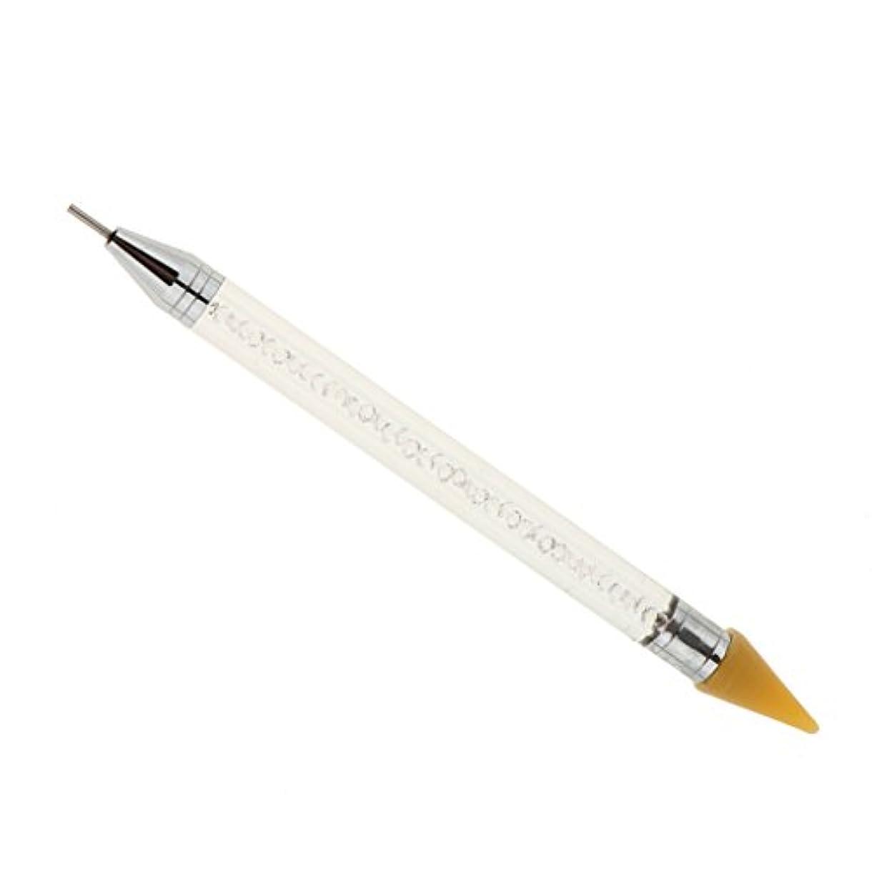 お祝い武器ブラウンデュアルエンドドットペン、ラインストーンピッカーワックスペンシルマニキュアネイルアートツール