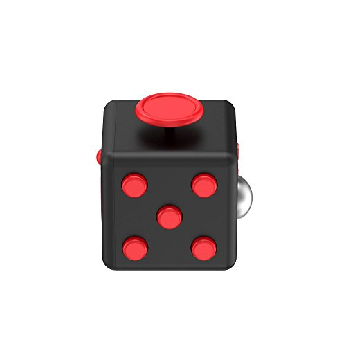 Relohas Fidget Cube ストレス解消キューブ 持ち無沙汰を解消 不安 緊張 リリーフ ルービックキューブ おもちゃ 手持ちポケットゲーム 集中力を高める道具 ((黒+紅) )