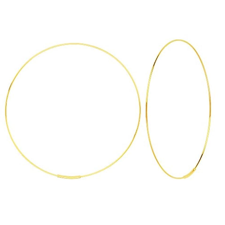 地理発音する必要条件イヤリング チェスト 14K イエローゴールド ホーリー セントコレクション エンドレス 60mm ワイヤーフープピアス (直径2 3/8インチ)