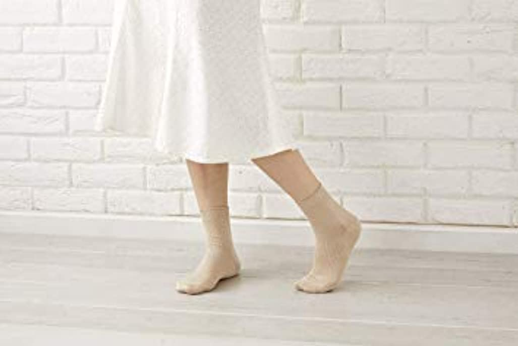 まろやかな呪われた治療婦人用 最高級 シルク100% 使用 定番 靴下 リブ 22-24cm 太陽ニット 512 (ピンク)