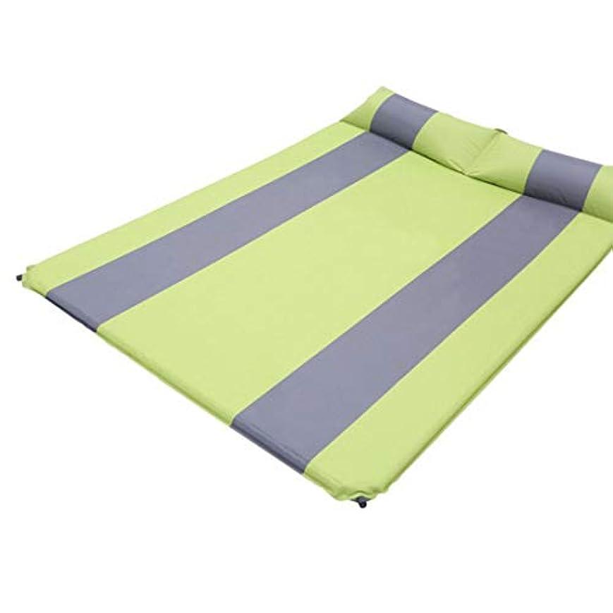 予測子夕食を食べる取り消す方朝日スポーツ用品店 自動膨脹可能なクッションの二重マットレスのパッドを厚くする屋外のキャンプパッドのマットのテントは広がりました (色 : イエロー)