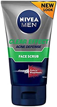 NIVEA Men Clear Effect Oil Control & Anti-Blackhead Facial Scrub, Formulated with Multi-Action 8 to Combat Oil & Prevent Bla