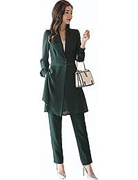 6d4c4671f2079 スイーヤ)Sueeya レディース スーツ パンツスーツ 2点セット 体型カバー 着痩せ Vネック テーラード ジャケット シースルー おしゃれ  シンプル ファッション…