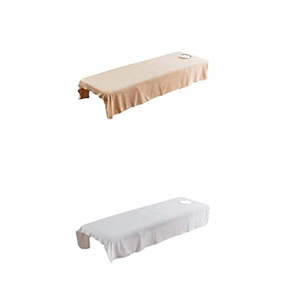 Fenteer 2枚 スパ マッサージベッドカバー 有孔 美容ベッドカバー マッサージ台スカート 120×190センチ