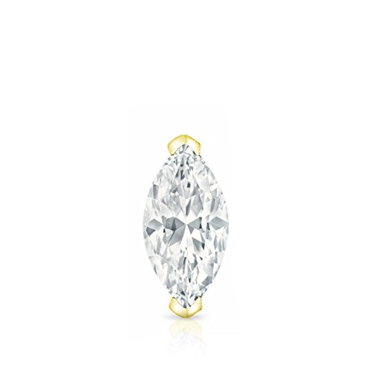 ハッチ表現部分的14 KイエローゴールドProng Marquise Diamondメンズシングルスタッドイヤリング( 1 / 4 – 1 CT、ホワイト、si1-si2 ) screw-back