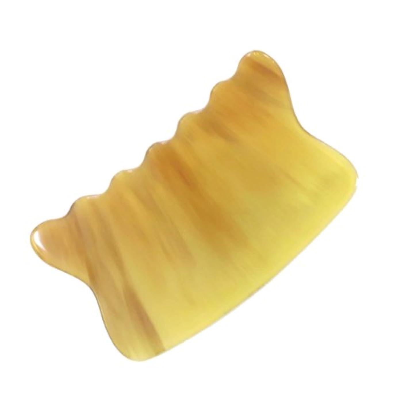熱咽頭ゾーンかっさ プレート 希少62 黄水牛角 極美品 曲波型