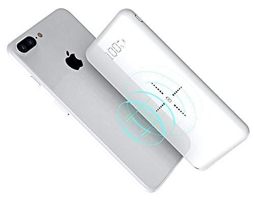 モバイルバッテリー 無線 Qi iphone 大容量 軽量 12000mAh ワイヤレス充電 おしゃれ ガラス画面 急速...
