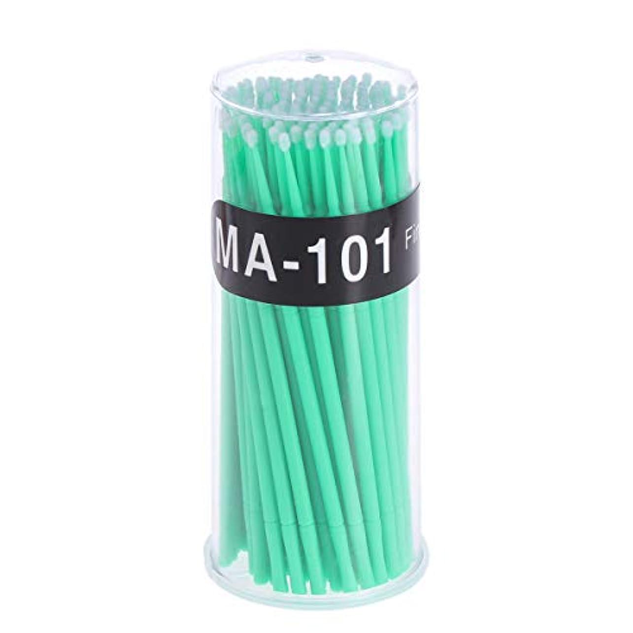 起きる味わう見る100個使い捨てマイクロアプリケータブラシまつげエクステンション綿棒まつげマイクロブラシワンドメイクアップツール(グリーン、ブラシ直径2mm)