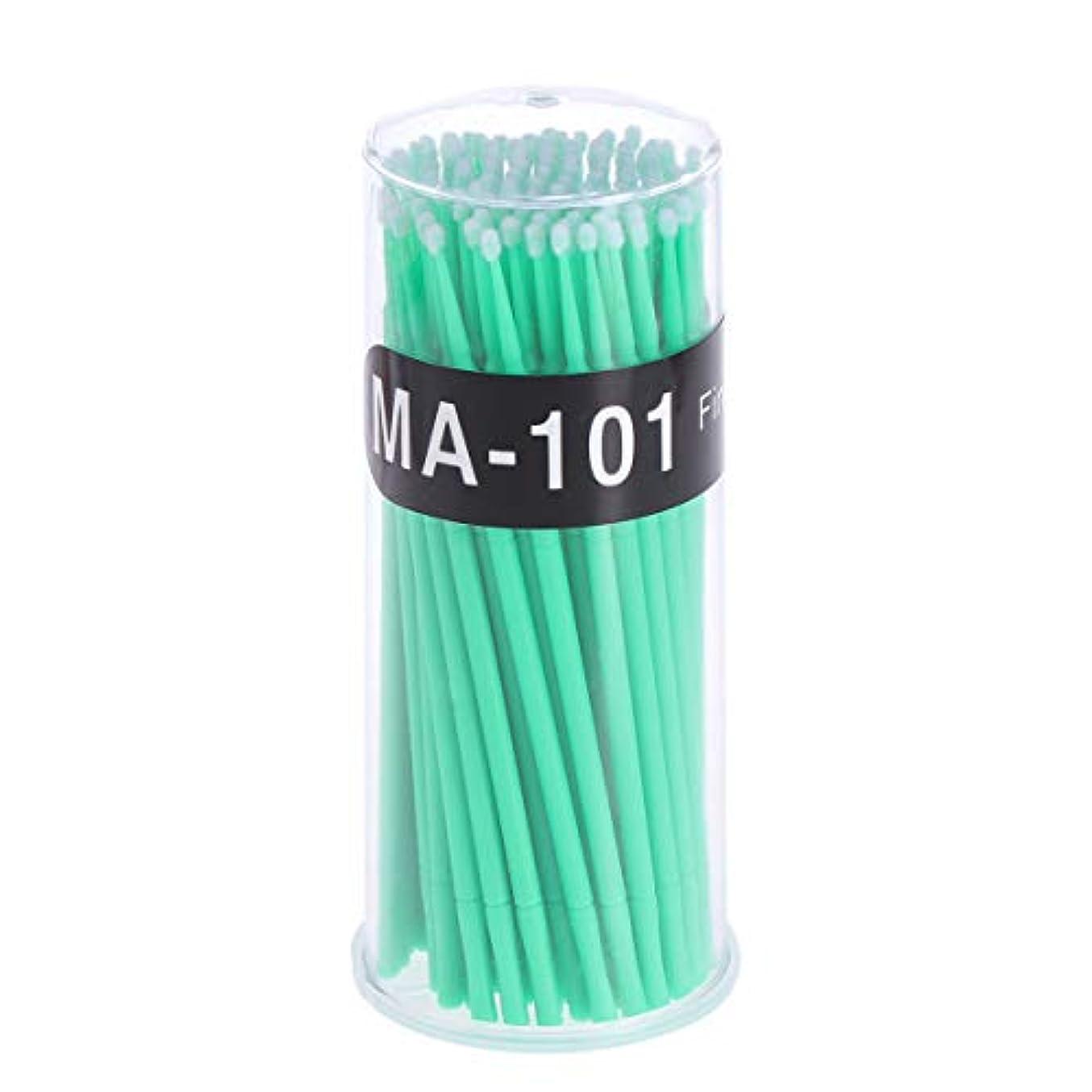 踊り子ペースト大混乱100個使い捨てマイクロアプリケータブラシまつげエクステンション綿棒まつげマイクロブラシワンドメイクアップツール(グリーン、ブラシ直径2mm)