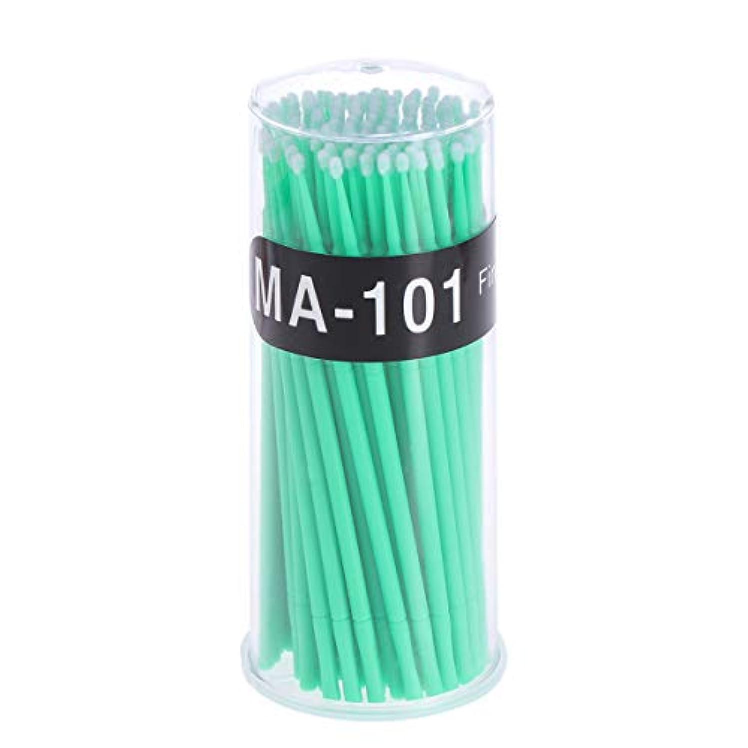 モーター上に築きます八100個使い捨てマイクロアプリケータブラシまつげエクステンション綿棒まつげマイクロブラシワンドメイクアップツール(グリーン、ブラシ直径2mm)