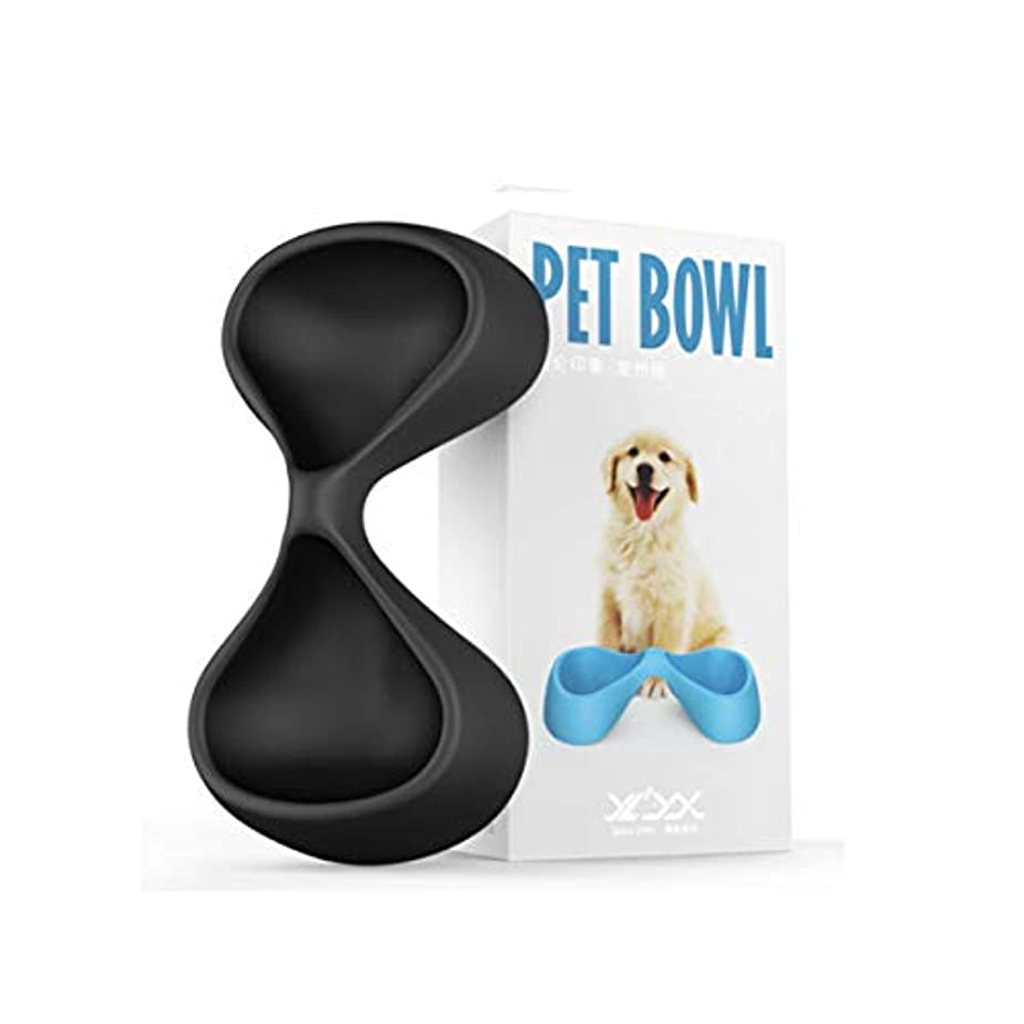 Xian ペットボトル、ペットボトル、ペットボトル、ペットボウル、キャットフードボウル、キャットポット、ペットボトル給餌飲料水ボウル、ペットドッグウサギ用品、小型中型および大型犬用品、水中バタフライタイプ(黒) Easy to Clean Non-Skid Bowls for Dogs (Color : Black)