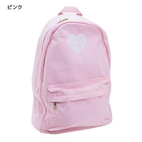 ONLY ME[リュック]スウェットデイパック/ハート刺繍 【ピンク 】